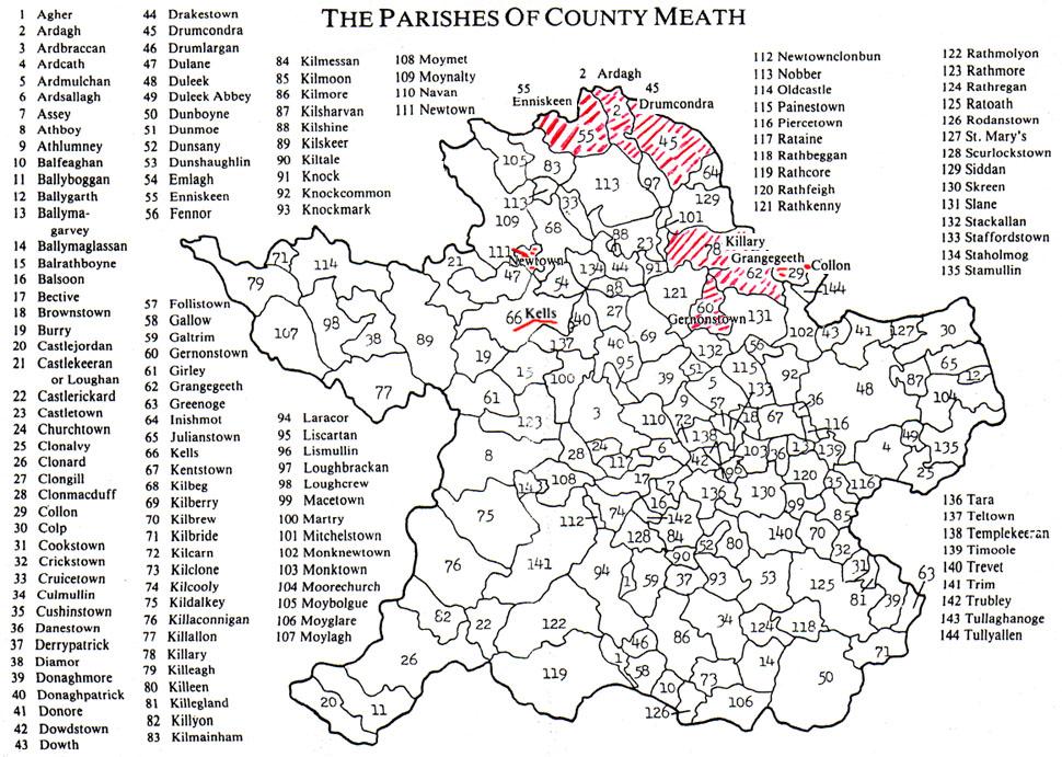 Map Ireland Parishes Of Meath